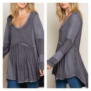 NWT POL Dusty Charcoal High Low Zip Back Tunic Top